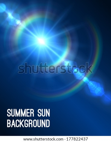 Summer background with a summer sun burst with lens flare. Vector illustration. - stock vector