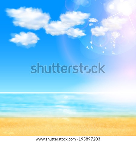 Summer Background with beach, you can easy all editable - stock vector