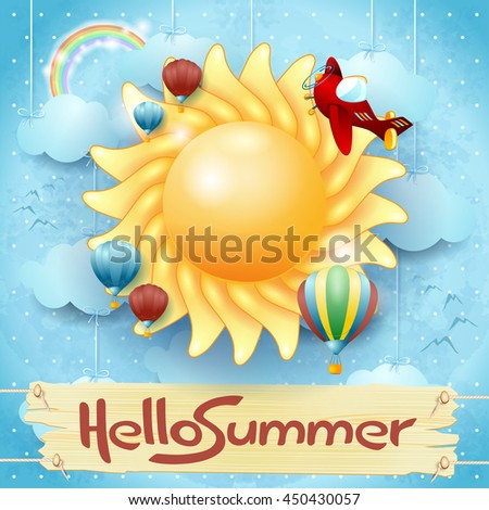 Summer background with big sun and message, vector illustration  - stock vector