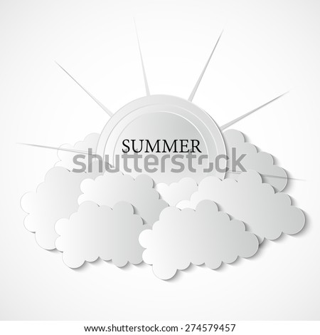 Summer Background With Clouds And Sun vector illustration paper grarhic 3d - stock vector