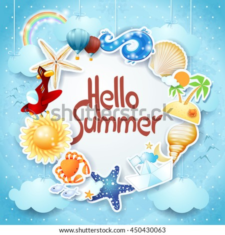 Summer background with colorful icons and message, vector illustration  - stock vector