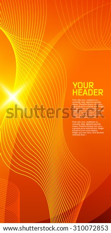 Summer background with orange yellow rays summer sun light burst. Hot swirl with space for your message. Vector illustration EPS 10 for design presentation, brochure layout page, cover book & magazine - stock vector