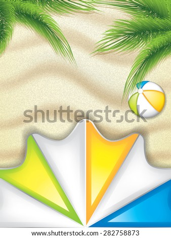 Summer background with palm leaves, parasol and beach ball on the beach - vector background - stock vector