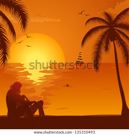 Summer Background with Silhouette Young Couple, Palm Tree, Dolphin and Yacht, vector illustration - stock vector