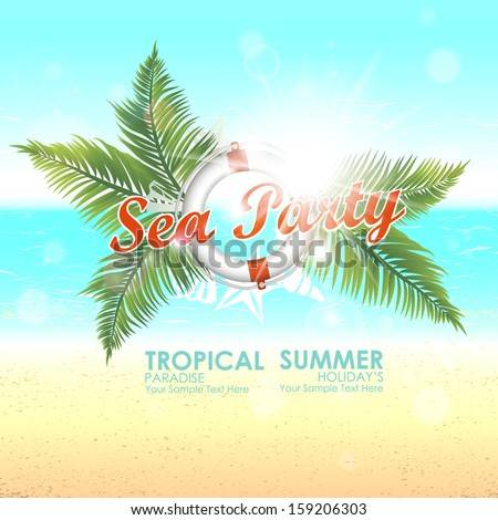 Summer background with sunny beaches and tropical blue waters. Sea party. Vector illustration - stock vector