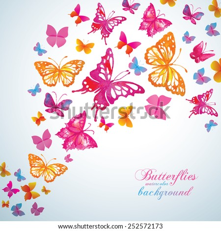 Summer background with watercolor butterflies. Vector. - stock vector