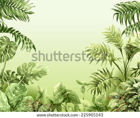 Summer background with watercolor tropical plants. - stock vector