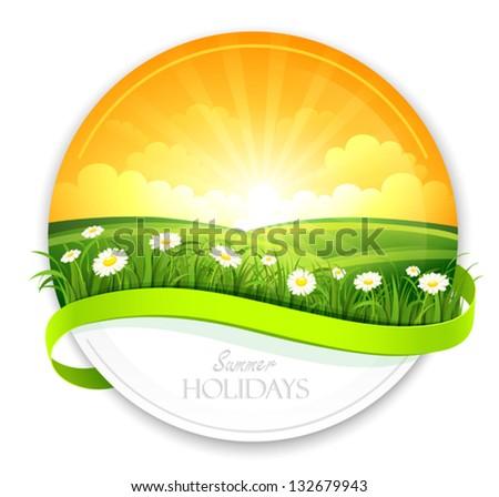 Summer banner - stock vector