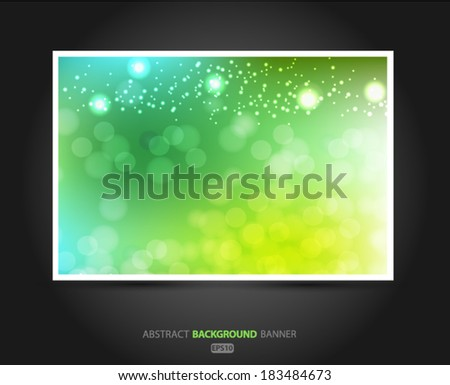 Summer banner abstract blurred green background with bokeh effect. Spring, nature, overcast. Vector EPS 10 illustration. - stock vector