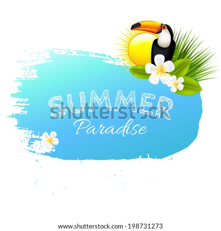 Summer Banner Blot With Flowers, Vector Illustration - stock vector