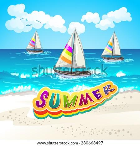 Summer beach - stock vector