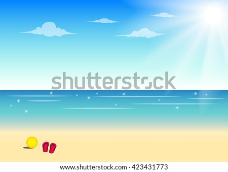 Summer beach background with ball and sandal ,vector illustration - stock vector