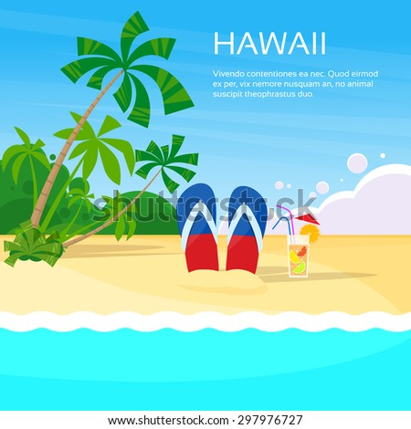 Summer Beach Flip-flops Sand Hawaii Card Tropical Vacation Flat Vector Illustration - stock vector