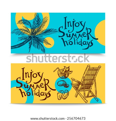 Summer beach holidays sketch horizontal banners set isolated vector illustration - stock vector