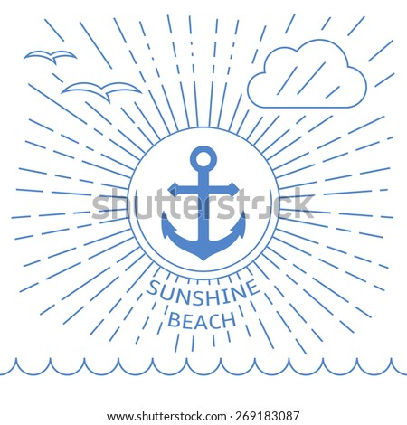 Summer beach illustration made with outline lines. Anchor in the middle as a symbol of sea vacation. - stock vector