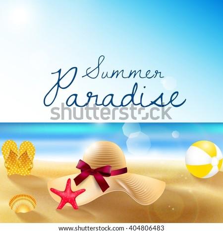 Summer beach of sandy beach, straw hat, sandals, beach volleyball, shells and starfish.Vector - stock vector