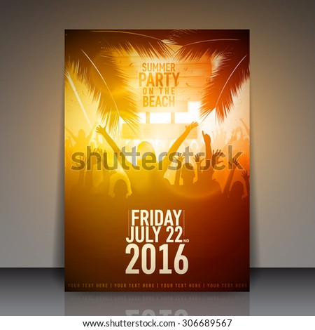 Summer Beach Party Flyer | Vector Design - stock vector
