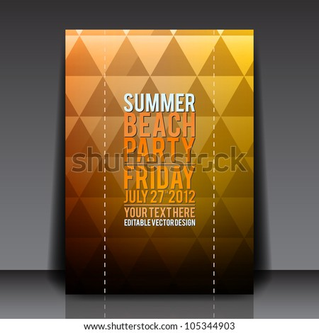Summer Beach Party Flyer Vector Template - EPS10 Design - stock vector
