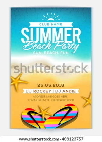 Summer Beach Party Template, Banner or Flyer design with illustration of colorful flip flop slippers and starfish on glossy background. - stock vector