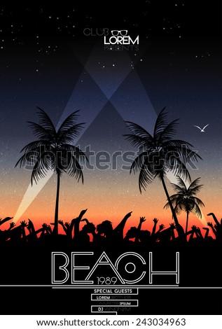 Summer Beach Party Vector Flyer - Vector Illustration - stock vector