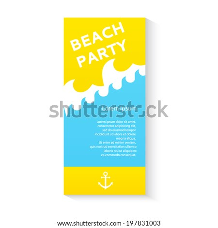 Summer beach party vector poster flier template with plenty of text space - stock vector