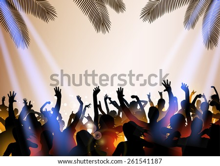 Summer Beach party with dance silhouettes and place for text - vector - stock vector