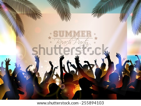 Summer Beach party WITH dance silhouettes and sunset - vector - stock vector
