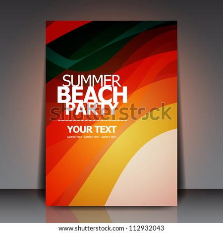 Summer Beach Retro Party Flyer | EPS10 Vector Design - stock vector
