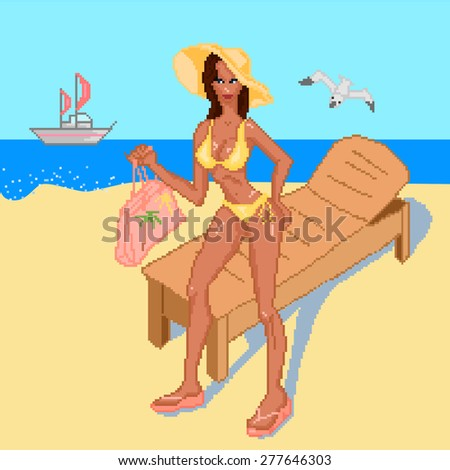 Summer, beach set of four elements with a girl in a swimsuit in full growth. Vector illustration - stock vector