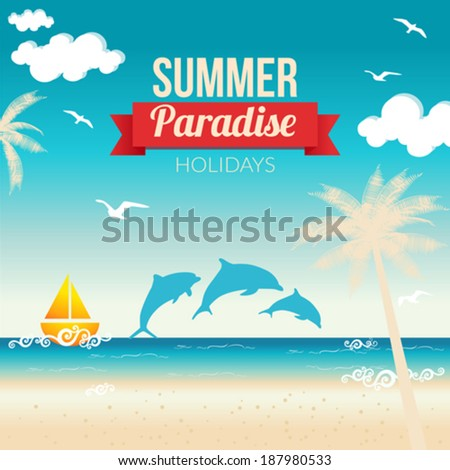 Summer beach vector background - stock vector