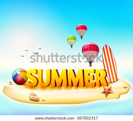 Summer Beach Vector Illustration with Beach Ball and Surfing Board Beside the Starfish with Hot Air Balloon and Birds in the Sky  - stock vector
