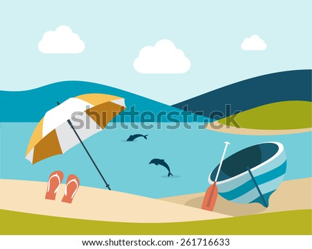 Summer beach with yellow umbrella. Flat design.  - stock vector