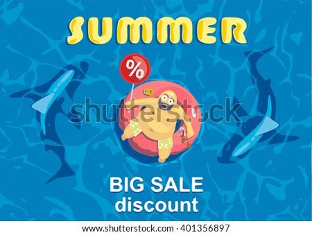 Summer big discount. Shark around a fat man on mattress - stock vector