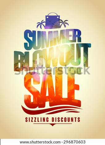Summer blowout sale text design with tropical backdrop silhouette - stock vector