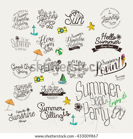 Summer Calligraphic Designs Set / Labels and Badges / Retro Hand Drawn Elements for Holidays / Paradise / Beach Party / Adventure Time,Sale / vintage /  - stock vector