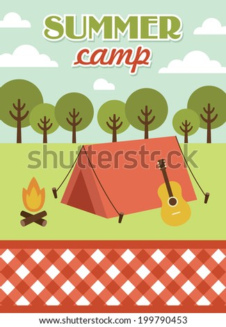 summer camp card design. vector illustration - stock vector