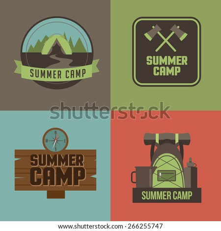 Summer camp icons. Royalty free stock illustration for ad, promotion, poster, flier, blog, article, social media, marketing - stock vector