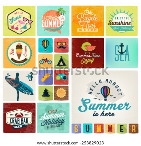 Summer Camping and Beach Vector Calligraphy Design Elements in Vintage style - stock vector