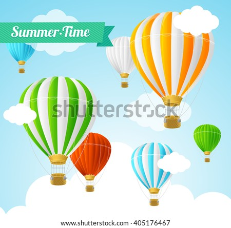 Summer Card with Colorful Hot Air Balloons. Vector illustration - stock vector