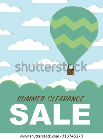 Summer clearance sale poster with clouds, hot air balloon, and blue sky - stock vector