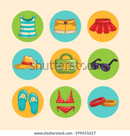 Summer cloth and accessories icon set, vector - stock vector