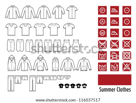 summer clothes and clothes icon. - stock vector