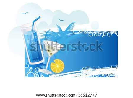 Summer cocktails banner - stock vector