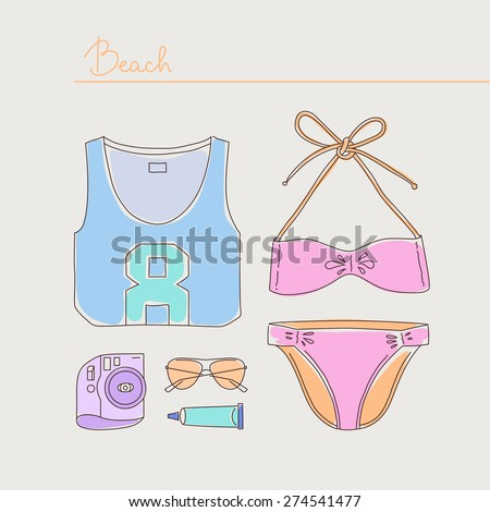 Summer collection of woman bikini, clothes and accessories lying organized on light background. Hand drawn style. Vector illustration eps 10 - stock vector