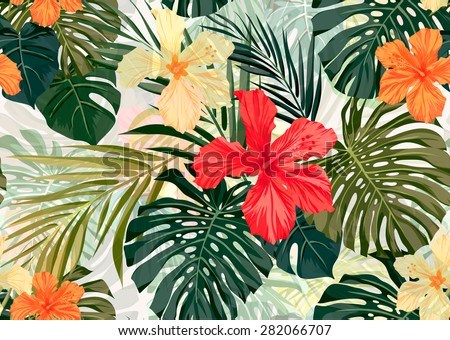 Summer colorful hawaiian seamless pattern with tropical plants and hibiscus flowers, vector illustration - stock vector