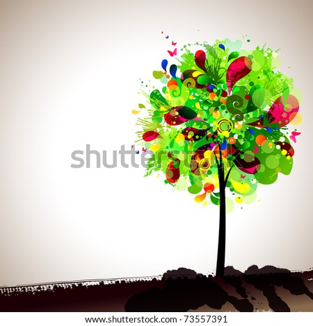 summer composition with multicolor tree - stock vector
