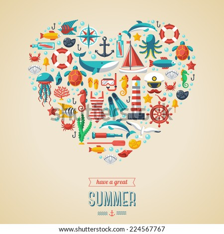 Summer concept. Flat icons arrange in the form of heart. Vector illustration. Marine symbols. Sea leisure sport. - stock vector