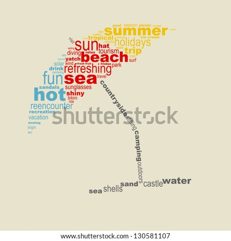 Summer concept made with words drawing a beach sunhat - stock vector
