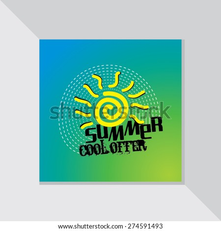 summer cool offer with yellow sun vector illustration - stock vector