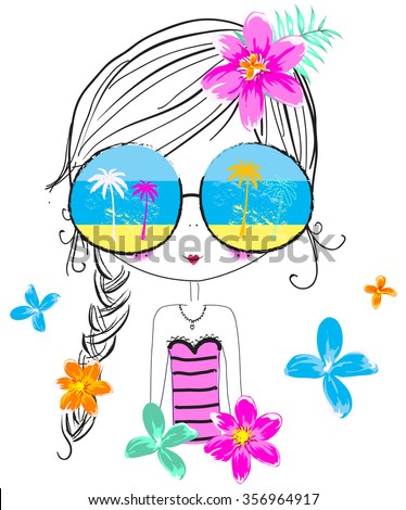 Summer cute girl/T-shirt Graphic/the children's book illustrations/fashion girl graphic/sea-themed illustrations/illustration beautiful girl/beach girl/sweet girl/pretty girl/character design  - stock vector